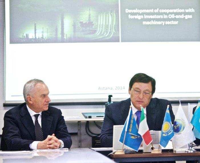Paolo Ghirelli with Meyram Pshembayev, Deputy at Majilis (the Kazakh Parliament) and Chairman of the Association of Mechanic Manufacturers.